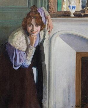 油絵 油彩画 絵画 複製画 サンティアゴ・ルシニョール 笑う女性 F10サイズ F10号 530x455mm すぐに飾れる豪華額縁付きキャンバス