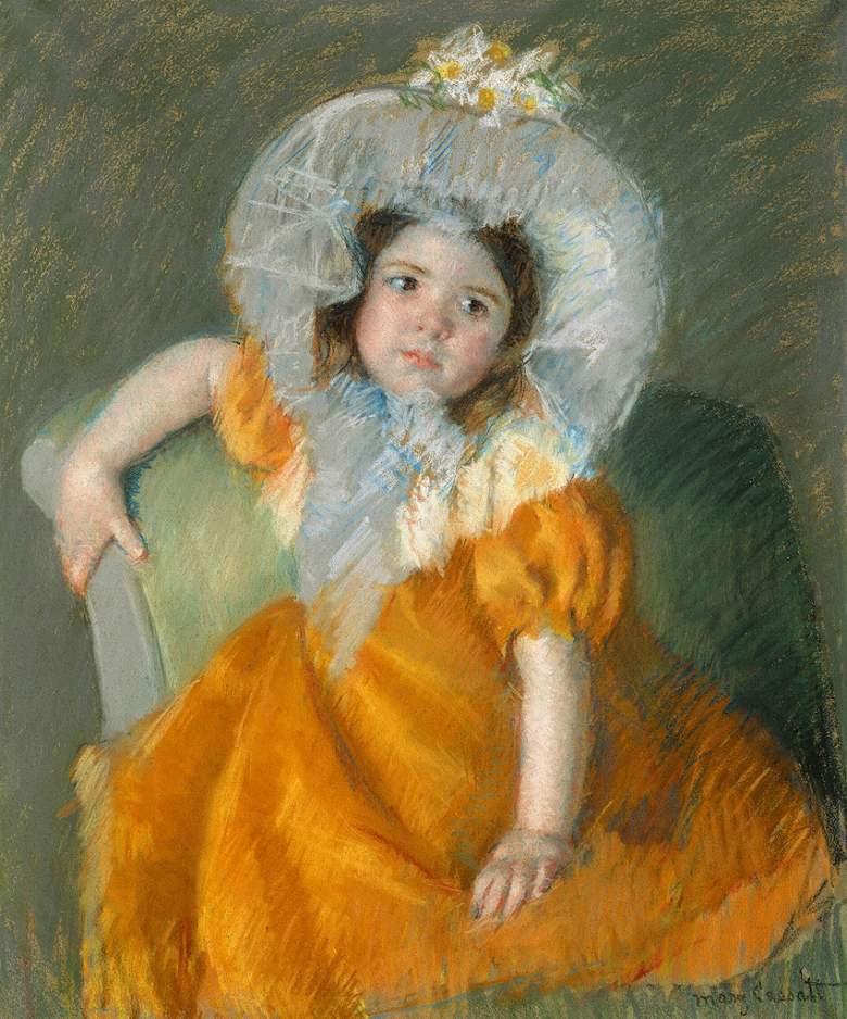 メアリー・カサット オレンジ色のドレスを着たマーゴー  F30サイズ F30号  910x727mm ※個人宛配送・代引不可※ 額縁付絵画 インテリア 額入り 壁掛け 油絵  メアリー・カサット:絵画販売のアートギャラリー南青山