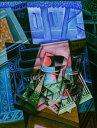 【送料無料】絵画 油彩画 油絵 複製画/フアン・グリス 開いた窓の前の静物 F8サイズ F8号 455x380mm すぐに飾れる豪華額縁付きキャンバス