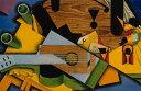 【送料無料】絵画 油彩画 油絵 複製画/フアン・グリス ギターのある静物 M8サイズ M8号 455x273mm すぐに飾れる豪華額縁付きキャンバス
