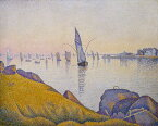 油絵 油彩画 絵画 複製画 ポール・シニャック 夕べの平穏、コンカルノー F10サイズ F10号 530x455mm すぐに飾れる豪華額縁付きキャンバス