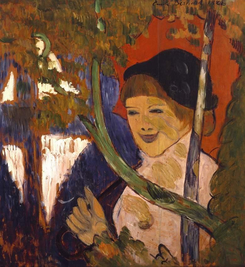 エミール・ベルナール 赤い傘とブレトン女性  F30サイズ F30号  910x727mm ※個人宛配送・代引不可※ 額縁付絵画 インテリア 額入り 壁掛け 油絵 エミール・ベルナール:絵画販売のアートギャラリー南青山