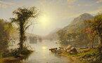 油絵 油彩画 絵画 複製画 ジャスパー・フランシス・クロプシー 秋のグリーンウッド湖 F10サイズ F10号 530x455mm すぐに飾れる豪華額縁付きキャンバス