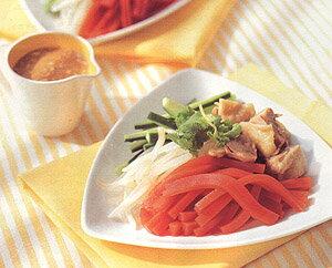 【寒天レシピ】おかずレシピ|バンバンジー風トマト寒天