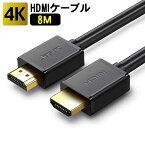 【土日限定 20時〜4時間限定 ポイント5倍】HDMI ケーブル 3D対応 8m (800cm) ハイスピード 4K 3D 2K 対応 8メートル Ver.2.0 PS4 / PS3 / VITATV / XboxOne / Xbox360 / WiiU対応 96010012 送料無料