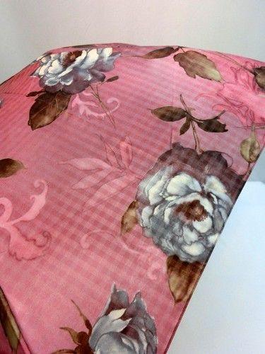 雨傘・折畳傘-婦人ポリエステル格子ジャガード絵画調柄転写プリント軽量丸ミニ日本製折畳雨傘