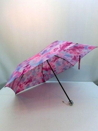 雨傘・折畳傘−婦人ポリエステル高密度転写プリントレインボーローズ柄超軽量丸ミニ折畳雨傘