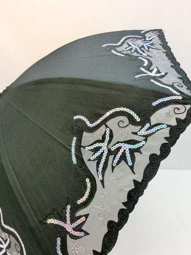 晴雨兼用・長傘−婦人UVカット晴雨兼用スライド式オーガンジー&スパンコール付傘