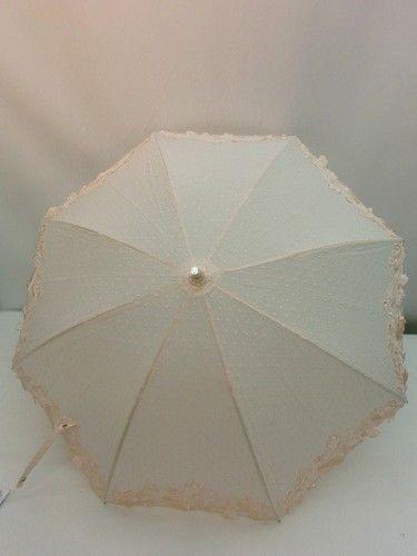 晴雨兼用・長傘−婦人UVカット晴雨兼用中棒スライド式綿水玉ジャガード裾レース晴雨兼用傘