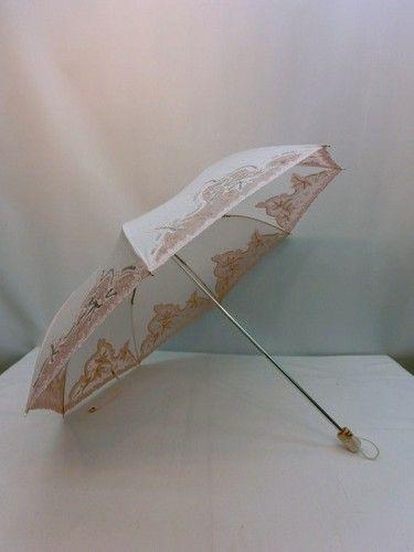 晴雨兼用・折畳傘−婦人UVケア綿100%生地オーガンジースパンコール入軽量晴雨兼用折畳傘