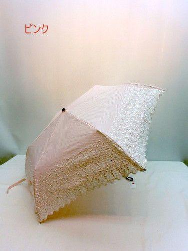 日傘・折畳傘-婦人UVカット90%以上ストライプスカラエンブロ丸ミニ折り畳みパラソル