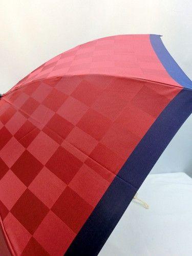 雨傘・折畳傘-婦人甲州産先染朱子市松柄生地日本製コンパクト折畳傘