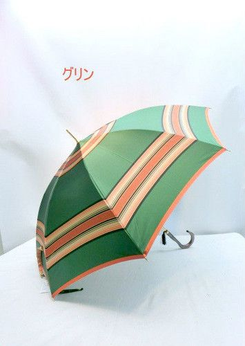 雨傘・長傘-婦人甲州産先染め朱子格子軽量日本製金骨ジャンプ雨傘