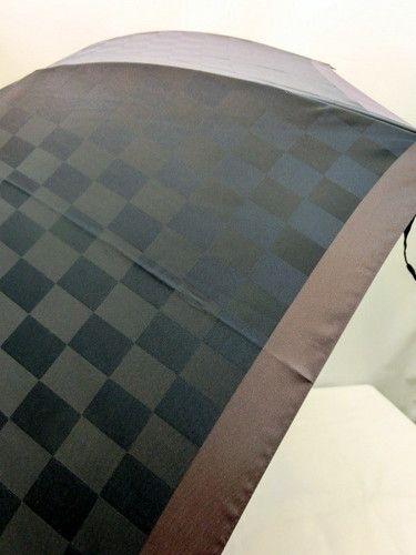 雨傘・長傘-紳士甲州産先染朱子格子市松柄グラスファイバージャンプ傘