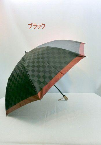 雨傘・折畳傘-紳士日本製甲州産先染朱子格子生地市松柄軽量大寸傘