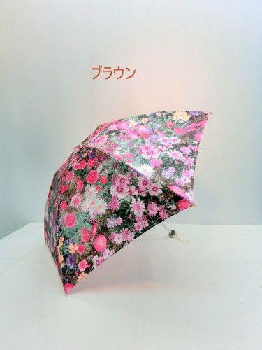 雨傘・折畳傘−婦人ポリエステルサテンジャガードガーデン柄日本製超軽量丸ミニ折畳傘
