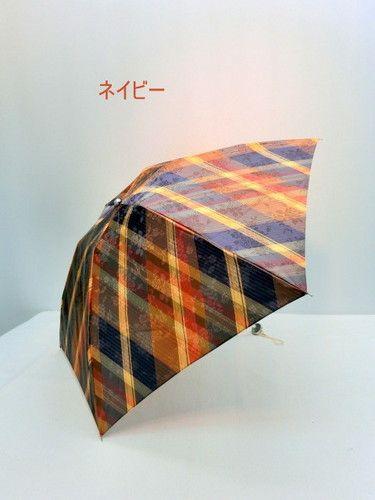雨傘・折畳傘−婦人ポリエステルサテンジャガード格子柄日本製超軽量丸ミニ折畳傘
