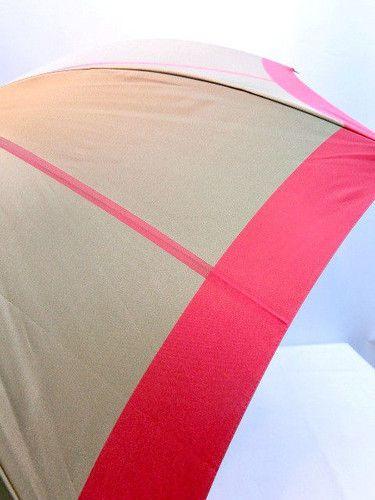 雨傘・折畳傘-婦人甲州織先染朱子生地中ボーダー軽量ゴールド骨折畳傘
