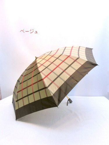 雨傘・折畳傘ー婦人甲州産先染朱子織大格子柄軽量日本製雨傘