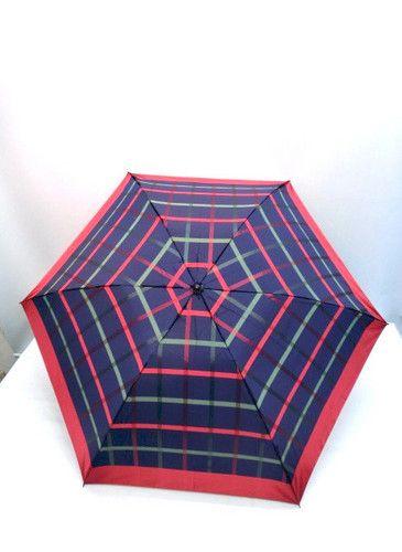 雨傘・折畳傘-婦人甲州産先染朱子織生地大格子柄日本製丸ミニ傘