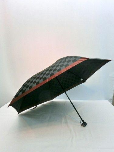 雨傘・折畳傘-紳士甲州産先染朱子織生地市松柄日本製丸ミニ傘