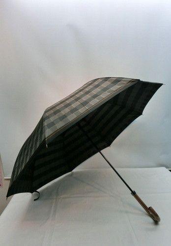 雨傘・長傘−紳士甲州織朱子碁盤柄日本製グラスファイバー骨ジャンプ傘