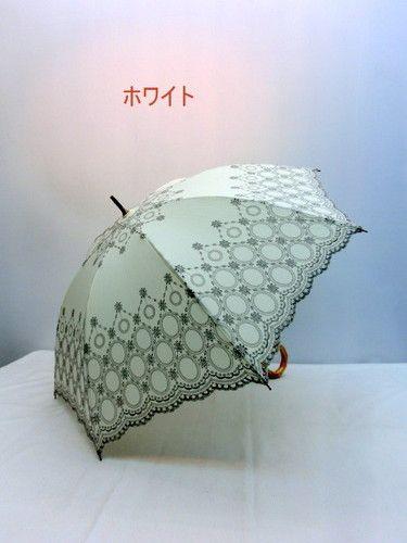 日傘・長傘−婦人純パラソル(日傘)T/Cオーナメントサークル柄手開傘