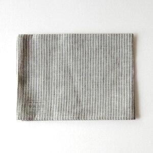 fog linen work(フォグリネンワーク) リネンキッチンクロス グレーホワイトストラ…