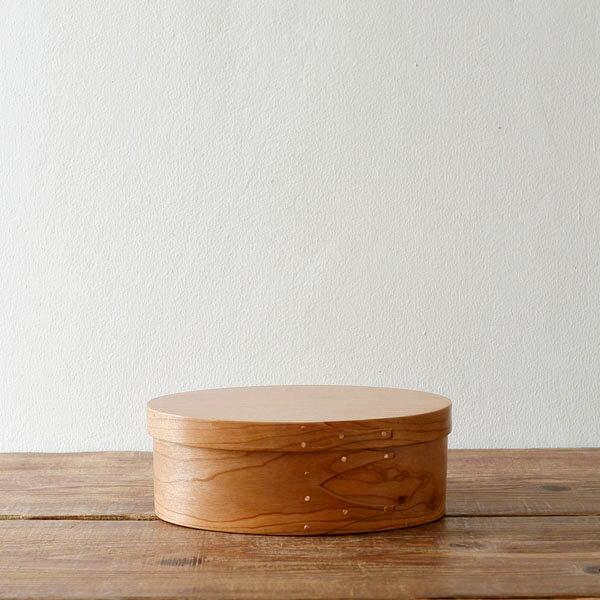 シェーカーボックス オーバル(チェリー) #1 [BR001-1]【北欧 トレー トレイ 木製 無垢 桜 ふた付き スタッキング 裁縫箱 ソーイングボックス】