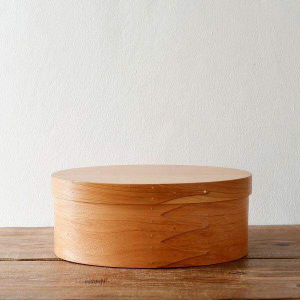 シェーカーボックス オーバル(チェリー) #3 [BR001-3]【北欧 トレー トレイ 木製 無垢 桜 ふた付き スタッキング 裁縫箱 ソーイングボックス】