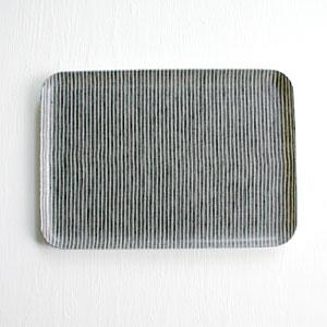 【全色展開中】fog linen work(フォグリネンワーク) リネンコーティングトレイ Mサイズ グレーホワイトストライプ [LXT001M-GYWS]