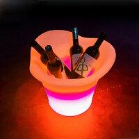 光るワインクーラーラウンド型[アイスペール氷入れボトルクーラーアイスバケツ光るLEDアイスペールアイスバケットBargoods]
