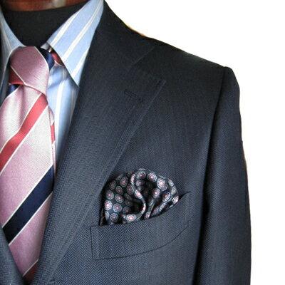 オースチンリード ポケットチーフ シルク ブラック レッド2カラー 小紋柄