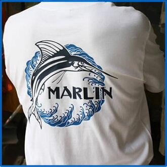 Blue Marlin Bloomer磷旗魚T恤[XXXL][棉布/和睦花紋/釣魚t襯衫/原始物設計/日本]