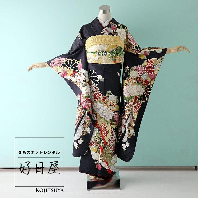 振袖 レンタル フルセット 正絹 着物 【レンタル】 結婚式 成人式 身長143-158cm 黒 bk-036
