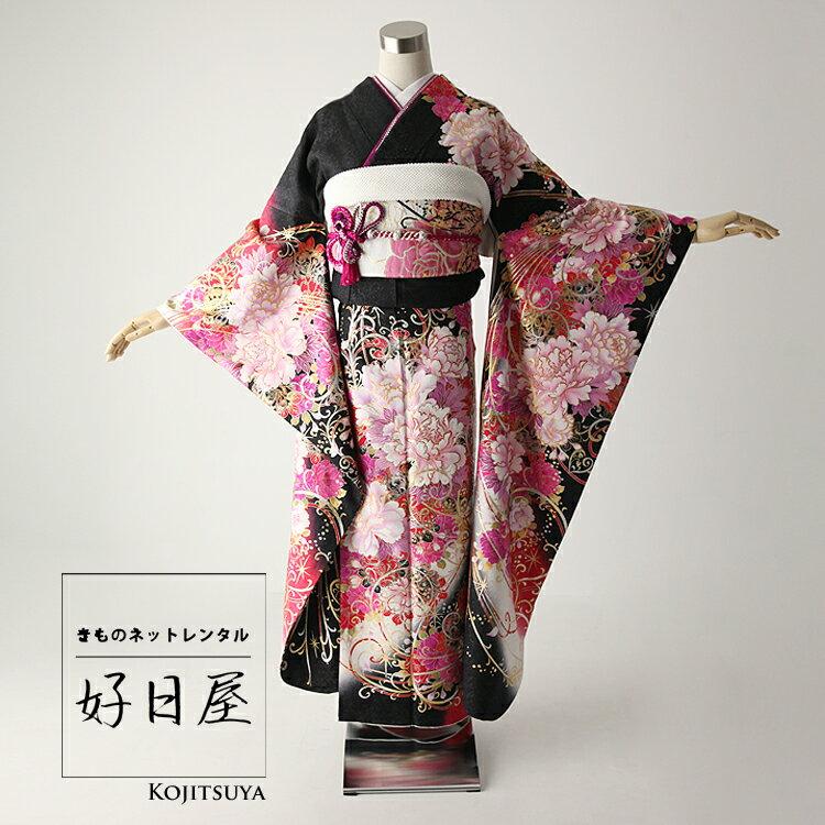 振袖 レンタル フルセット 正絹 着物 【レンタル】 結婚式 成人式 身長165-180cm 黒 bk-040-s