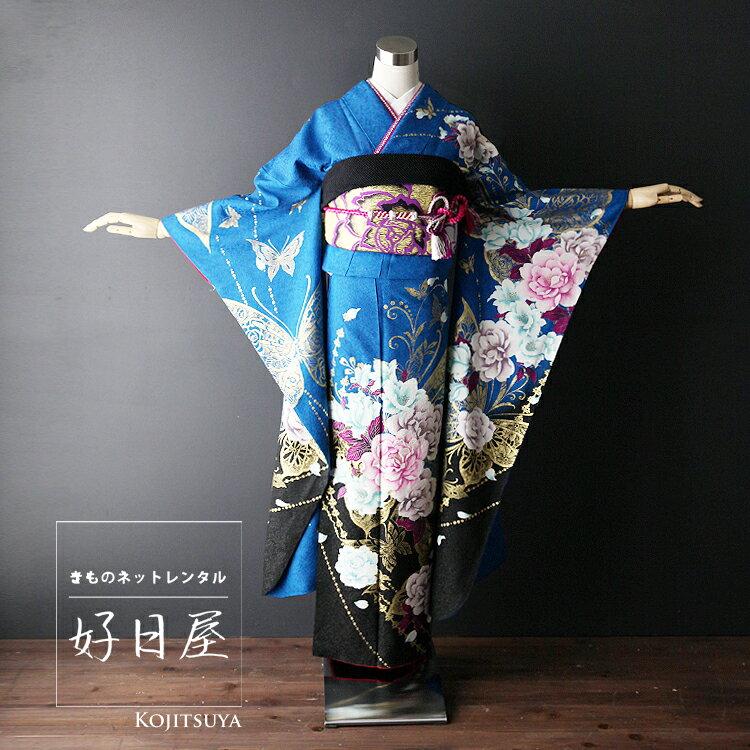 振袖 レンタル フルセット 正絹 着物 【レンタル】 結婚式 成人式 身長157-172cm 青 bl-017