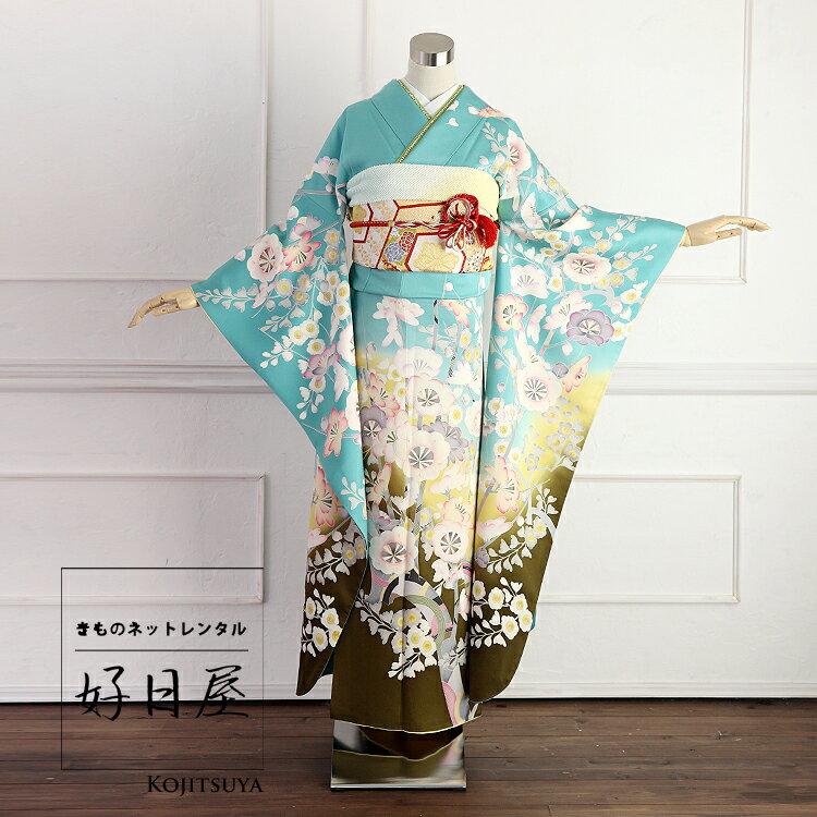 振袖 レンタル フルセット 正絹 着物 【レンタル】 結婚式 成人式 身長157-172cm 青 bl-018