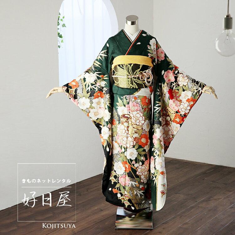 振袖 レンタル フルセット 正絹 着物 【レンタル】 結婚式 成人式 身長155-170cm 緑 gr-011