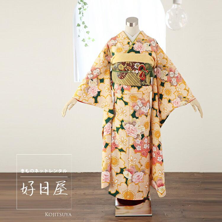 振袖 レンタル フルセット 正絹 着物 【レンタル】 結婚式 成人式 身長148-163cm オレンジ or-003