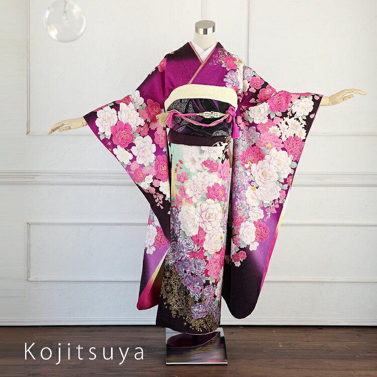 振袖 レンタル フルセット 正絹 着物 【レンタル】 結婚式 成人式 身長157-172cm 紫 pu-017-s
