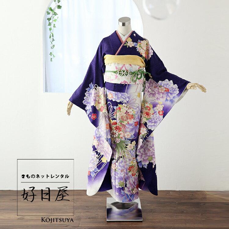 振袖 レンタル フルセット 正絹 着物 【レンタル】 結婚式 成人式 身長159-174cm 紫 pu-018