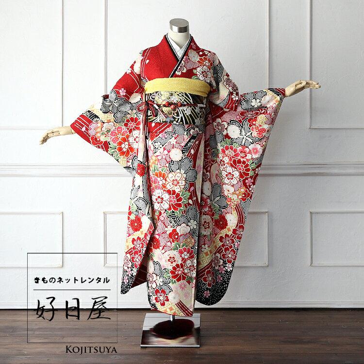 振袖 レンタル フルセット 正絹 着物 【レンタル】 結婚式 成人式 身長161-176cm 赤 re-002