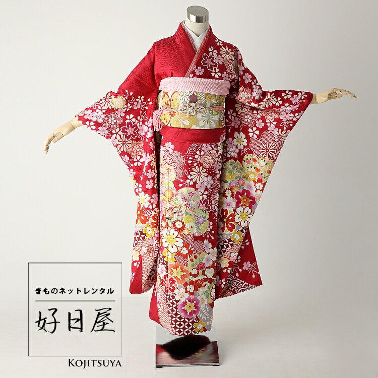 振袖 レンタル フルセット 正絹 着物 【レンタル】 結婚式 成人式 身長149-164cm 赤 re-004