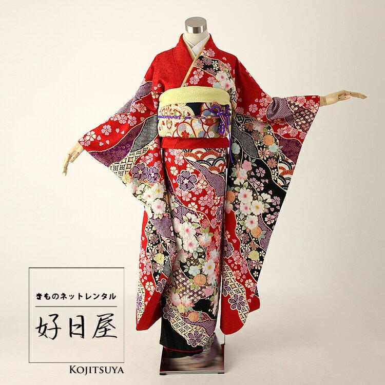 振袖 レンタル フルセット 正絹 着物 【レンタル】 結婚式 成人式 身長159-174cm 赤 re-009