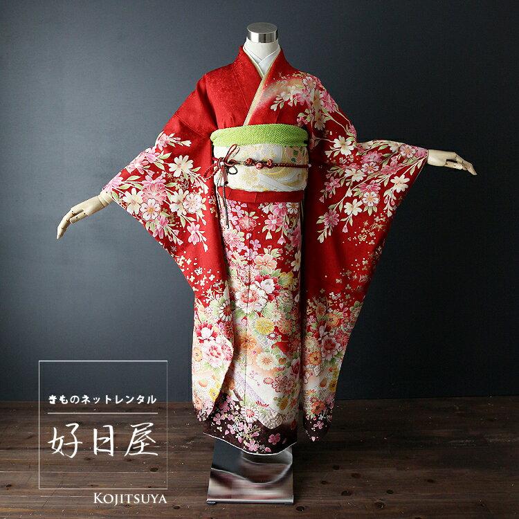 振袖 レンタル フルセット 正絹 着物 結婚式 成人式 身長145-160cm 赤 re-011