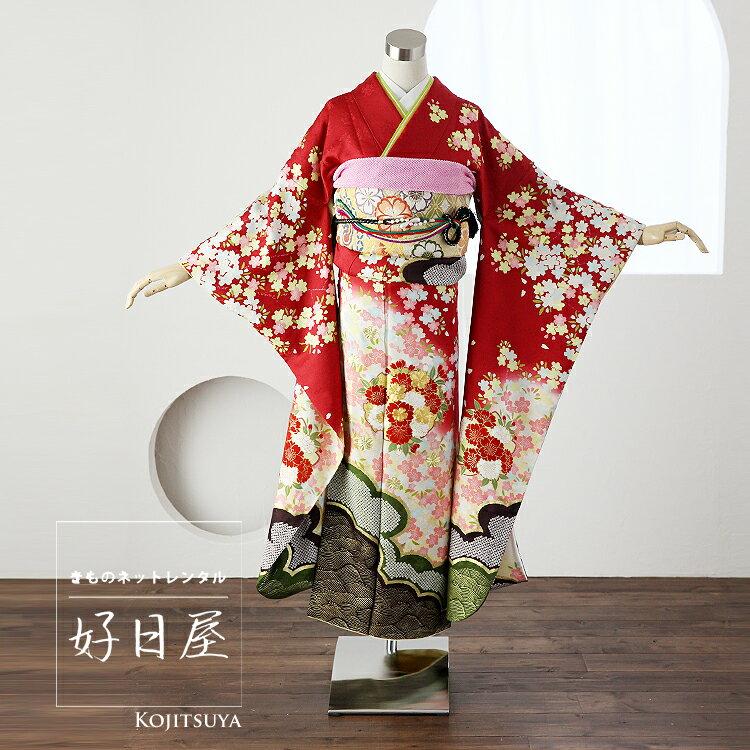 振袖 レンタル フルセット 正絹 着物 【レンタル】 結婚式 成人式 身長145-160cm 赤 re-039