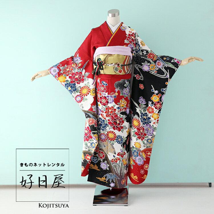 振袖 レンタル フルセット 正絹 着物 結婚式 成人式 身長150-165cm 赤 re-040
