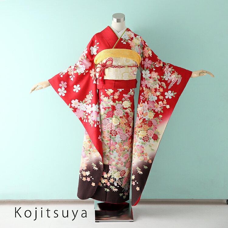 振袖 レンタル フルセット 正絹 着物 【レンタル】 結婚式 成人式 身長155-170cm 赤 re-041
