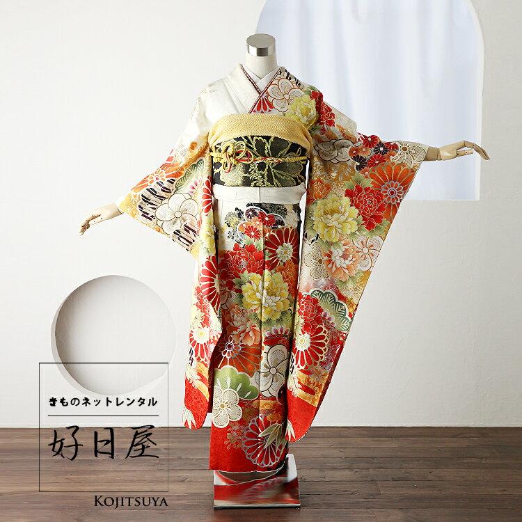 振袖 レンタル フルセット 正絹 着物 【レンタル】 結婚式 成人式 身長151-166cm 白 wh-035